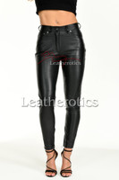 Tight leather trousers with ankle zip