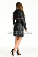 Knee length leather dress with belt - back 2