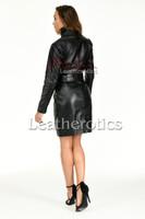 Knee length leather dress with belt - back