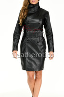 Long  leather dress with belt - front 3