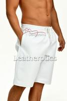Men's White Leather Shorts - front details