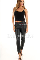 Ladies Skin tight High rise Perforated Leather Leggings - front 2