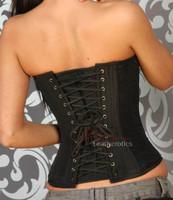Black Satin Corset Dress Steel Boned with Modesty Panels
