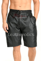 Perforated Leather Shorts for Men - front 3