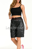 Women's Perforated Black Leather Shorts 2
