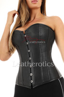 Perforated Leather Tight Bustier Overbust - front