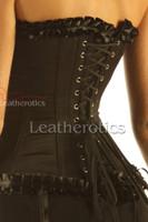 Frilly Satin OverBust Corset Black 1810B