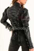 Ladies Black Leather Gothic Jacket 1
