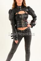 Ladies Black Leather Gothic Jacket 3