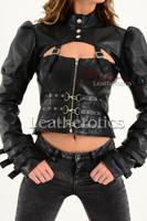 Ladies Black Leather Gothic Jacket 2