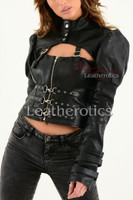 Ladies Black Leather Gothic Jacket 4