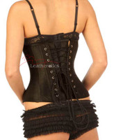 Black Underbust Satin Corset Basque Waist Trainer 1811 BLK Plus size