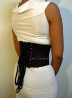 Black Underbust Satin Corset Basque Waist Trainer 1827