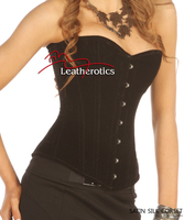 Luxury Black Velvet Tight Lacing Steel Boned Corset Basque  image 2