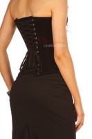 Luxury Black Velvet Tight Lacing Steel Boned Corset Basque  image 3