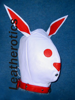 Leather BUNNY lockable mask hood in white color