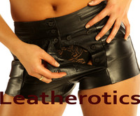 Full Grain Sexy Leather Shorts Tight Fit Fetish Open Crotch image 3