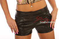 Full Grain Sexy Leather Shorts Tight Fit Fetish Open Crotch