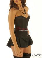Corseted Skirt Skirted Basque Steel Boned BLK 1810 Leatherotics UK CRSBLK