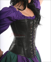 Medieval Double Lace Real Leather Overbust Corset Full Steel Boned
