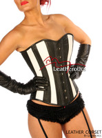 Full Grain Leather Corset Victorian Style Overbust Fitting 1252B  image 2