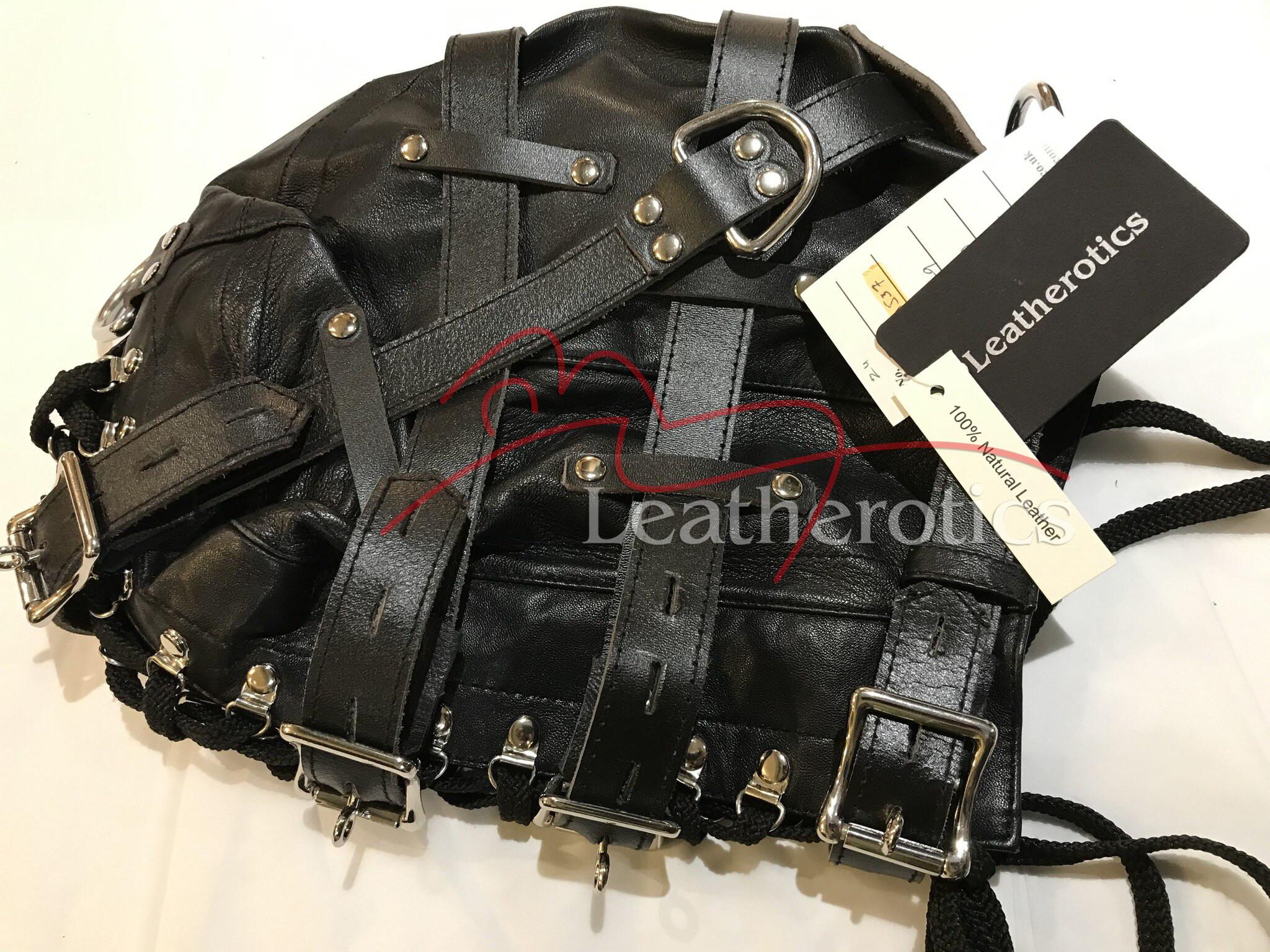 Goat Leather Leder Cuir Tight Mask Hood Maske 9