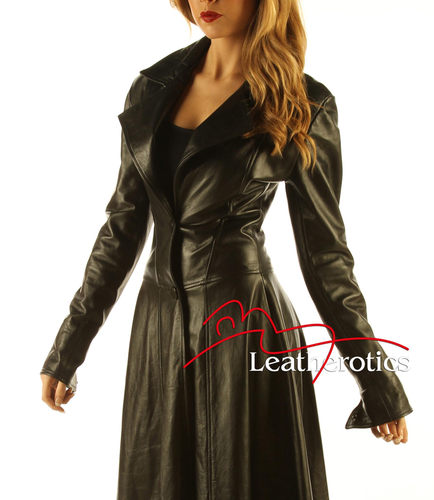hot-selling fine craftsmanship yet not vulgar Ladies Black Leather Full Length Dress Coat Burlesque Alternative Clothing