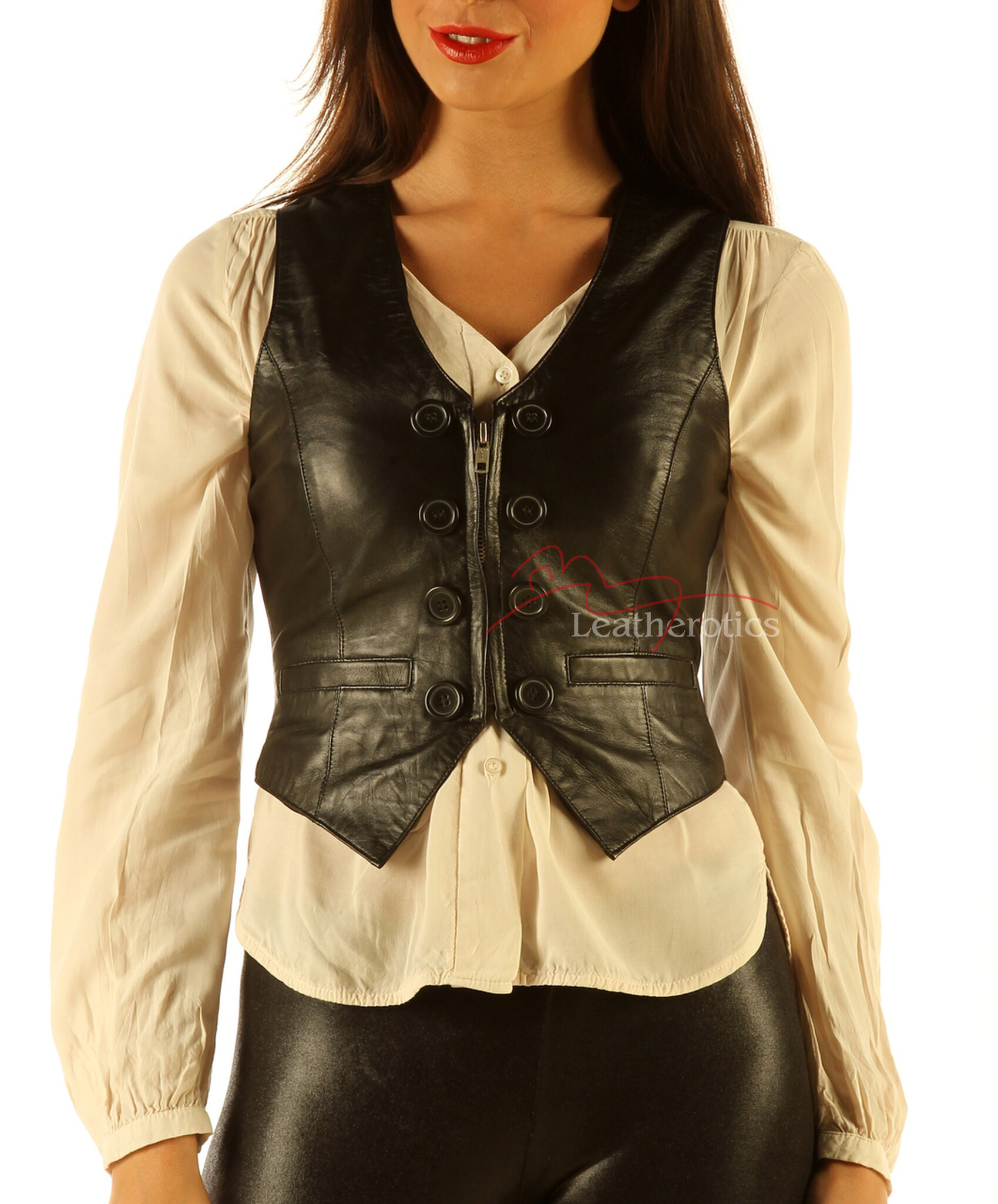 Womens leather vest   black leather top