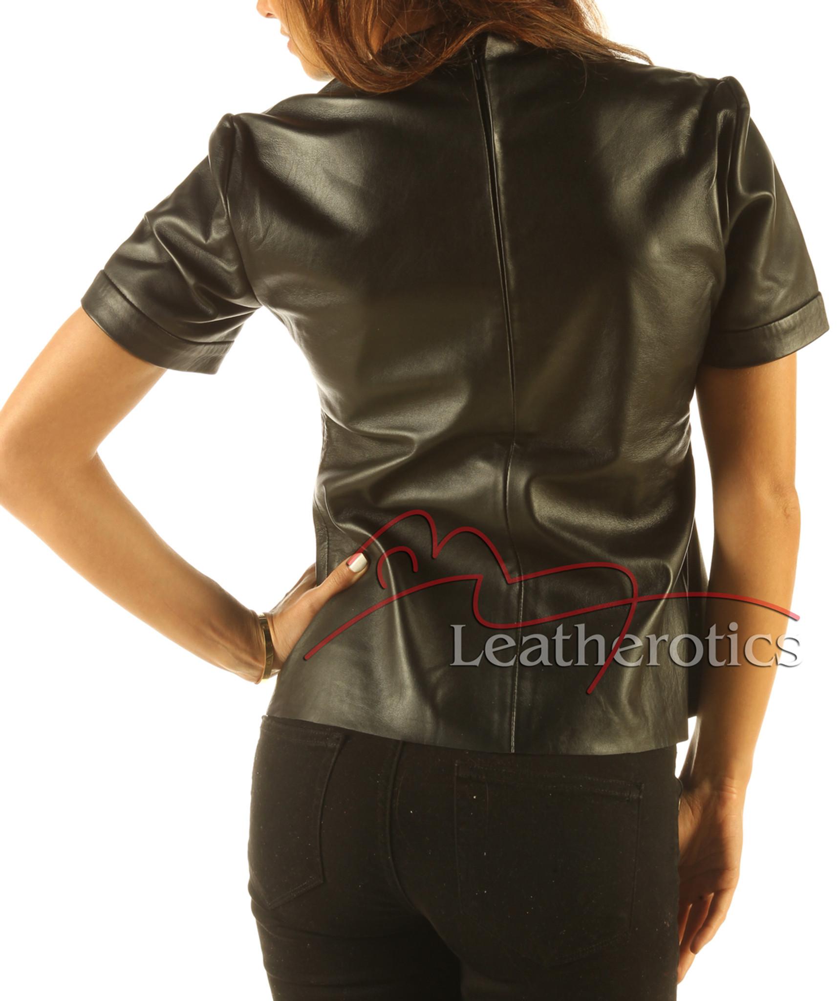 e9de343a08 ... Full Grain Leather T-Shirt Light Top Celebrity T-shirt Vest With Zip  Back