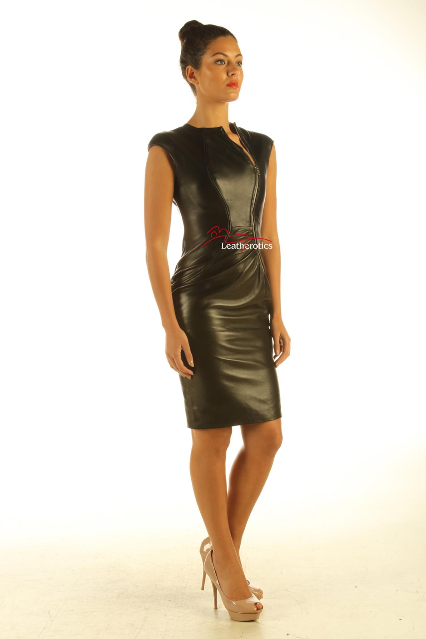 3a73f2c34a25 Lavish Soft Black Leather midi Dress Zip Front Top Calf Length side ...