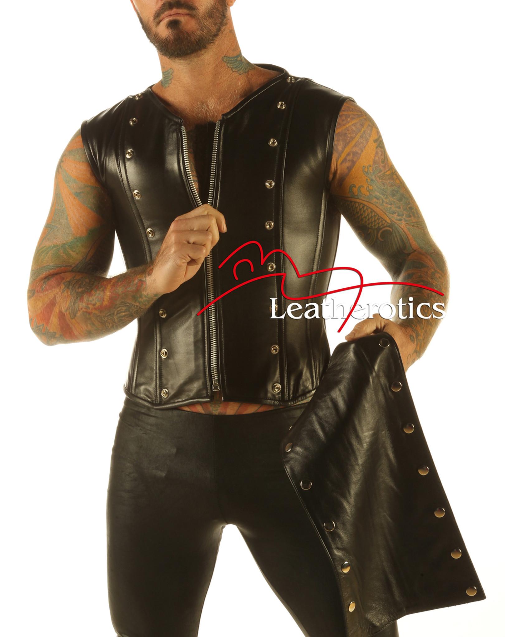 53c8235441 Full Grain Leather Mens Vest Waistcoat Victorian Steel Boned Shirt VC9 ...
