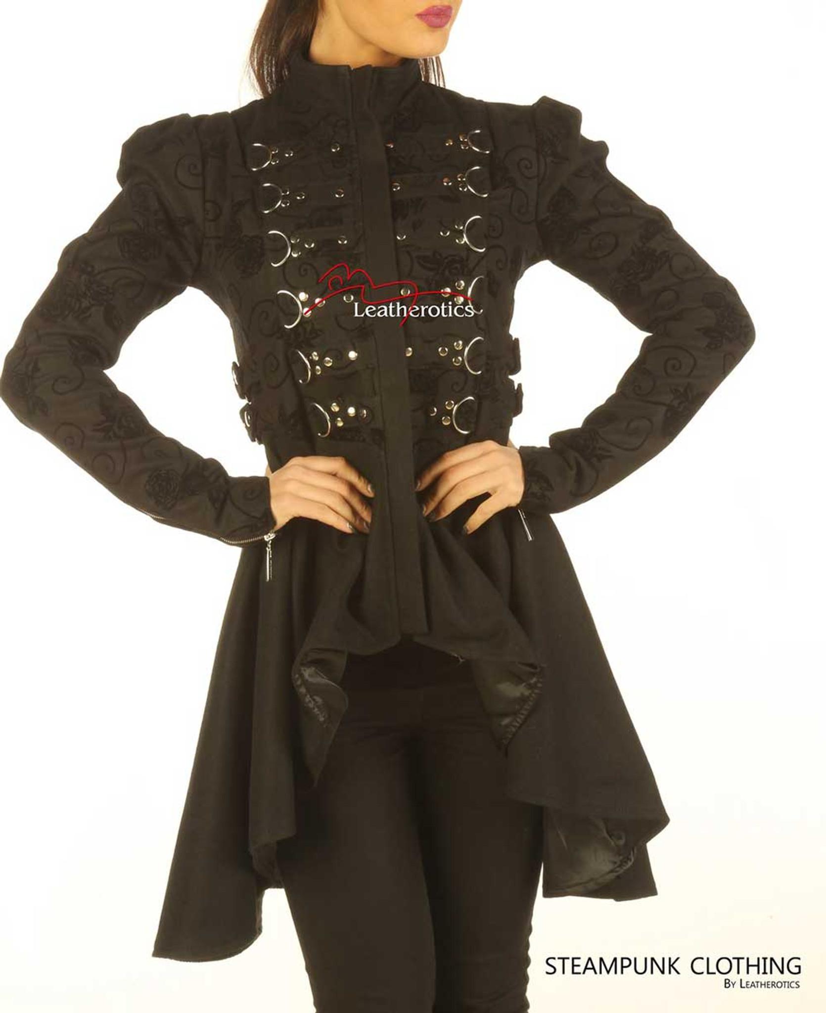 a9979d3e Black Cotton Steampunk Ladies Top Cyber Gothic Jacket ST6
