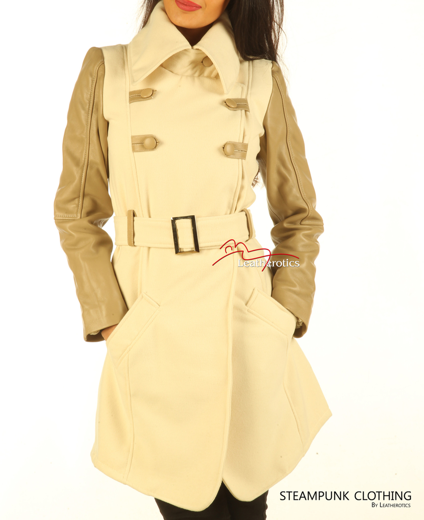 258d3afaff Soft Wool Coat With Full Grain Leather Arm Sleeves Of White Tan ...