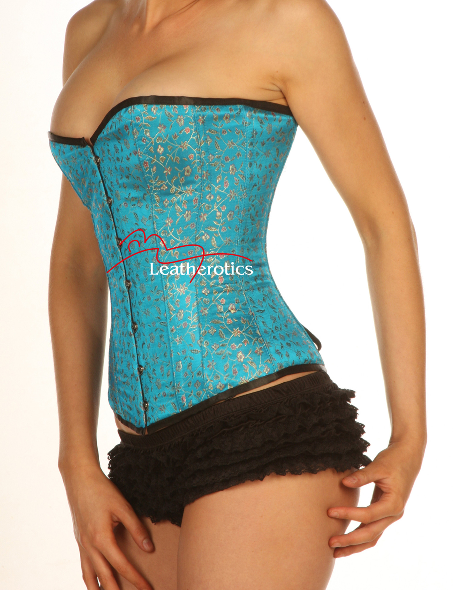 940ce0ee9b Turquoise Full Steel Boned Corset with modesty panels front ...