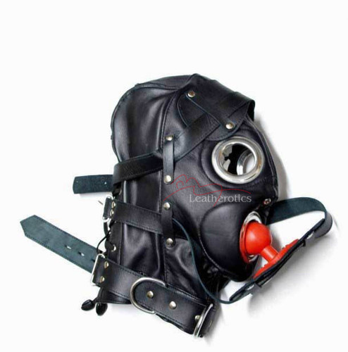 Bdsm Hood Goat Leather Leder Cuir Tight mask MASKE 6
