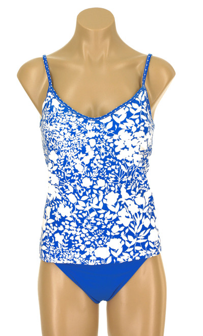 Tankini Top with Soft Cups in Shelf Bra and Adjsutable Straps Field of Flowers FBE FMN