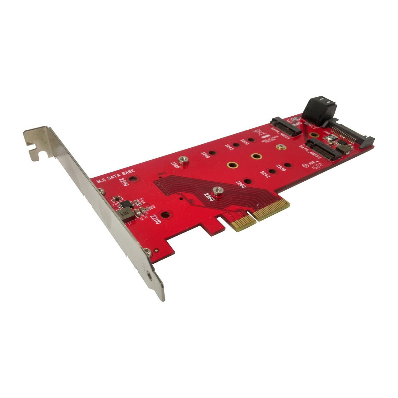 Lycom DT-125 1x PCIe M.2 SSD + 2x SATA M.2 SSD PCIe 3.0 x4 Low Profile Host Adapter Card
