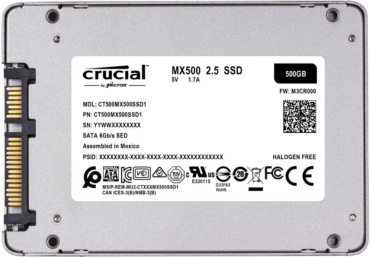 Crucial MX500 500GB SATA 2.5-inch 7mm (with 9.5mm adapter) Internal SSD CT500MX500SSD1