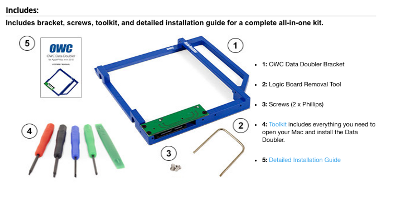 OWC Data Doubler Optical Bay Hard Drive/SSD Mounting Solution (for Mac Mini 2010)