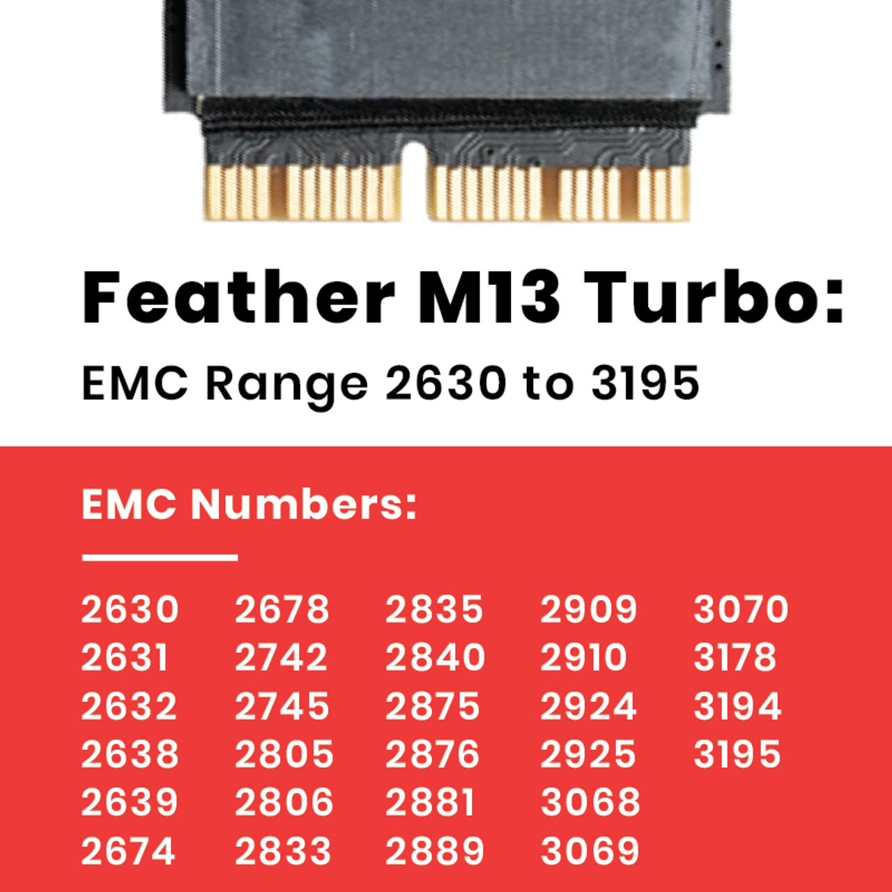 Feather M13 Turbo 256GB NVME SSD for MacBook Air and Macbook Pro mid 2013 and newer