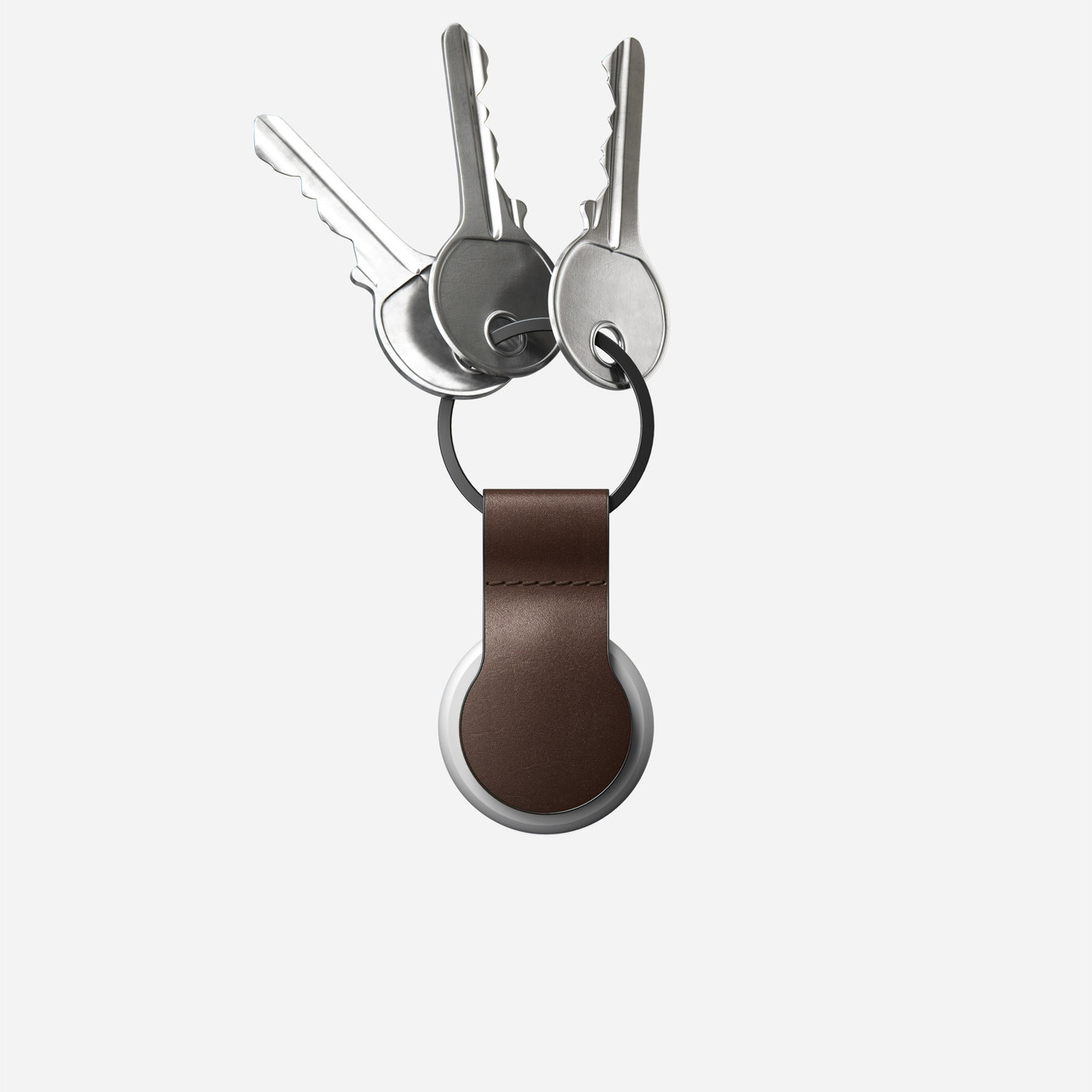 Nomad Keychain - for AirTag Leather Loop Horween Leather - Rustic Brown