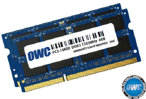 OWC ram 8GB (2 x 4GB) 204-pin SODIMM DDR3 PC3-10600 1333MHz 1.5v memory module for Mac