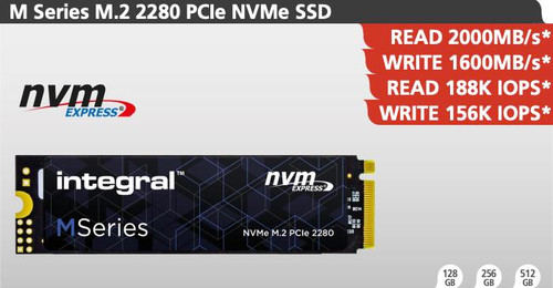 Integral 256GB M Series M.2 2280 PCIe NVME Solid state drive - SSD