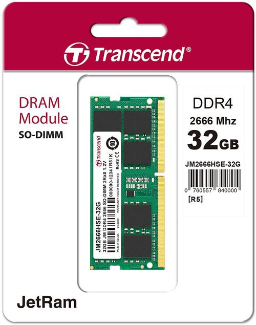 Transcend 32GB DDR4 PC4-21300 2666Mhz SO-DIMM CL19 1.2V