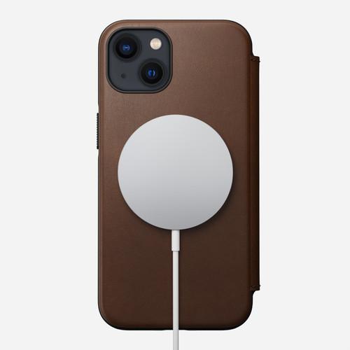 Nomad iPhone 13 Pro leather Folio case brown-front leather Folio case brown_MageSafe 5