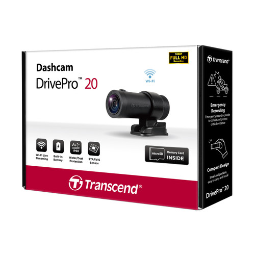 Transcend Drive Pro 20 dashcam for motorcycle-motorbike box