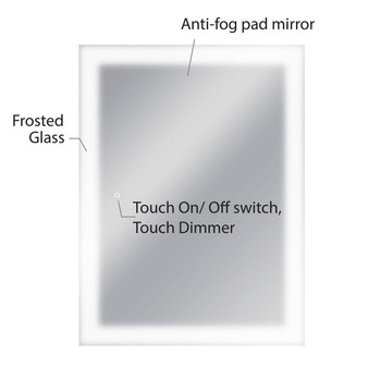 """Dyconn Faucet Royal - LED Wall Mounted Backlit Vanity Bathroom LED Mirror with Touch On/OFF Dimmer & Anti-Fog Function (36""""W X 48""""H)"""