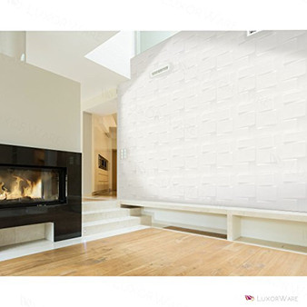 Luxorware 3D Wall Panel Pack of 12 Tiles 32 sqf CE Certified White PVC Panel For TV Walls/Bedroom/Living room (LW3D898)