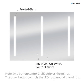 """Dyconn Faucet Catella-Plus Horizontal LED Wall Mount Backlit Vanity Bathroom LED Mirror With Touch On/Off Dimmer & Background Trim Light (48""""W X 36""""H)"""
