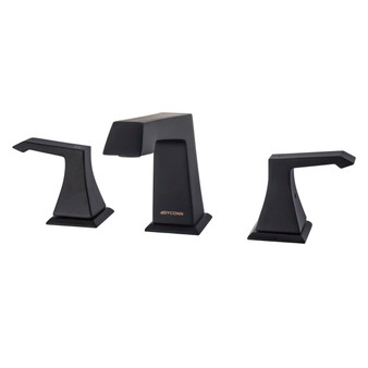 Dyconn Faucet WS3H39A-BLK Rosemary Double-Handle 3 Hole Widespread Bathroom Faucet, Black